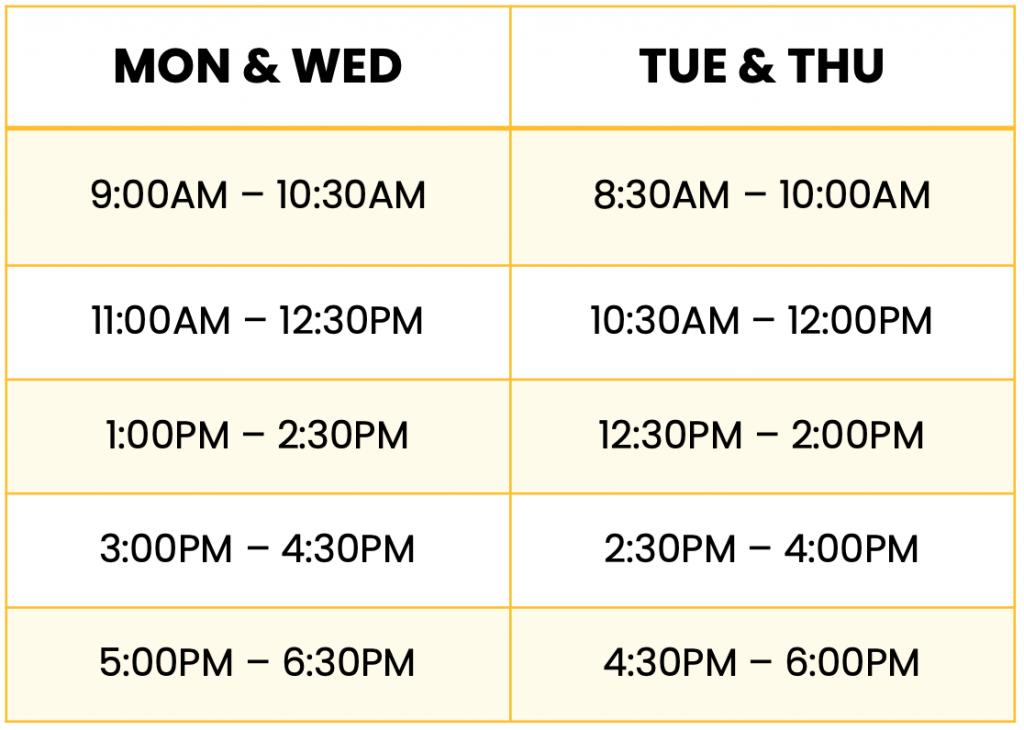 Summer Course Schedule