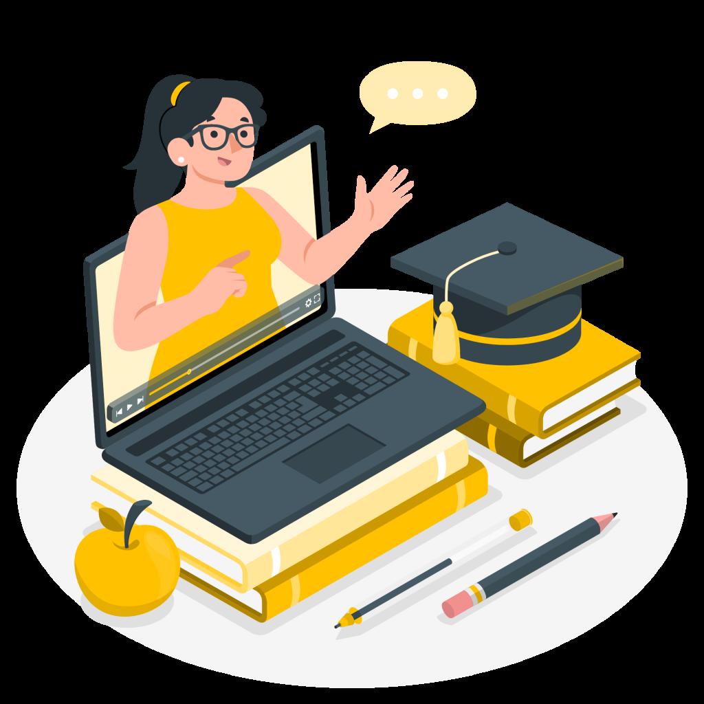 Online tutor teaching high school student