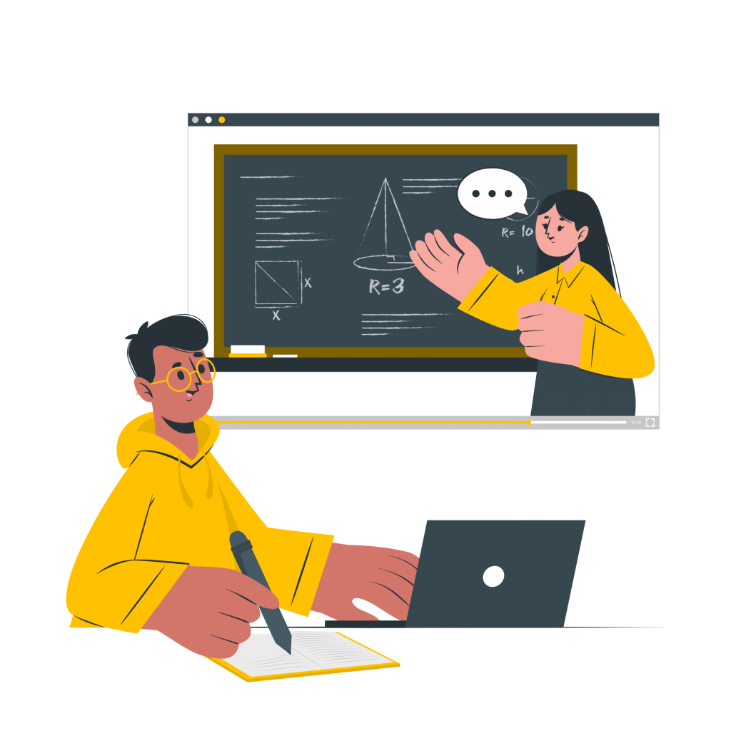 Teacher teaching school subjects to student